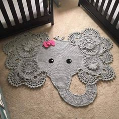 Crochet Patterns baby rug with hand-woven elephant face. decoration for baby room. woven with cotton - baby rug with hand-woven elephant face. It is available for girl and boy. for baby room. woven with cotton Crochet Mignon, Animal Rug, Crochet Diy, Crochet Food, Crochet Animals, Crochet Birds, Crochet Cats, Crochet Rabbit, Future Baby