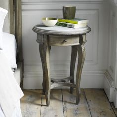 Our elegant Bella bedside table is based on a beautiful French one we spotted. It's hand-carved in weathered oak with a smooth granite top. French Bedside Tables, Wooden Bedside Table, Formal Living Rooms, Home Living Room, Modern Living, Painted Side Tables, Comfy Sofa, Bedroom Decor, Bedroom Ideas
