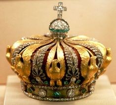 """Coronation Crown of Louis XV"""" This is the coronation crown of Empress Eugénie. She was, I think, never actually crowned, but readiness is important. It has 2,480 diamonds and 56 emeralds."""