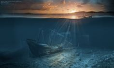 Ghost ship series: Pirate shipwreck: surrealist picture print poster wallpaper