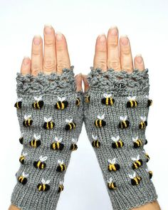 Gloves With Bees, Gray Hand Knitted Fingerless Gloves, Polka Dot Pattern With Bee, Embroidery -I think I'd have a few less bees...