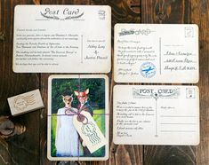 vintage postcard wedding invitations and save the dates by Royal Steamline -  photos by Amy McMullen and Royal Steamline | junebugweddings.com