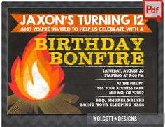 bonfire invitation, camp invitation, bonfire party invitations, smores invitation, bonfire birthday invitations, chalk, instant download by WolcottDesigns on Etsy