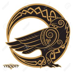 Illustration of Raven hand-drawn in Celtic style, on the background of the Celtic moon ornament, isolated on white, vector illustration vector art, clipart and stock vectors. Celtic Tattoos, Viking Tattoos, Celtic Raven Tattoo, Celtic Patterns, Celtic Designs, Viking Designs, Celtic Symbols, Celtic Art, Celtic Dragon