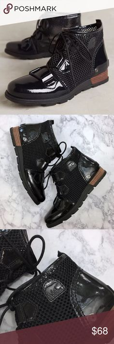New Anthropologie Sorel Major Mesh Black Booties • Fits true to size  • Lace-up detail, pull-on styling  • Patent leather and synthetic mesh upper  • Synthetic insole, sole  • In excellent unworn condition, new without box  • $130 retail, new without box Sorel Shoes Ankle Boots & Booties