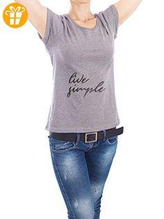"""Design T-Shirt Frauen Earth Positive """"Live simple"""" in Grau Größe S - stylisches Shirt Typografie von Smuk Leve - Shirts mit spruch (*Partner-Link)"""