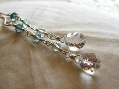 Aquamarine dangle earrings with crystal quartz briolettes | Kahili Creations Handmade Jewelry from Hawaii