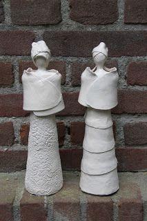 Atelier Soeff: Dames van Annelies, papier mache en zelfdrogende klei
