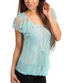 Take a look at this Aqua Lace Angel-Sleeve Top  - Women by Buy in America on #zulily today!