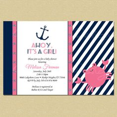 Hey, I found this really awesome Etsy listing at https://www.etsy.com/listing/183116882/ahoy-its-a-girl-pink-nautical-crab