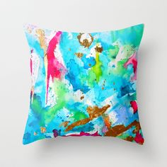 Le Aqua et Passion Throw Pillow by Limezinnias Design - $20.00