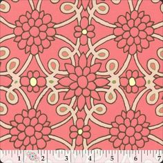 Coral, blush and brown fabric from the Asian Market collection: Connecting Flowers