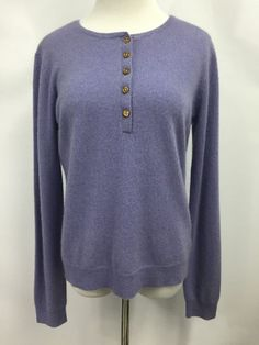 Ralph Lauren LRL Womens Cardigan 100% Cashmere Purple Sweater Long Sleeve Sz L #LaurenRalphLauren #Cardigan