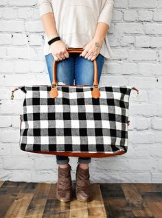 The Buffalo Check Weekender is perfect for holiday travel and the right price to give as a gift!