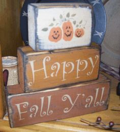 HAPPY FALL Y'ALL PUMPKINS PRIMITIVE BLOCK SIGN SIGNS Wood Craft Patterns, Wood Block Crafts, Wood Crafts, Wood Blocks, Glass Blocks, Christmas Signs Wood, Holiday Signs, Fall Halloween, Halloween Crafts