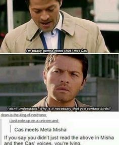 I actually read it in Misha and can voice cas' voice is deep and misha is a little more happier