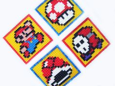Mario Nintendo Coaster Set  4 by TheComfyGeek on Etsy, $15.00