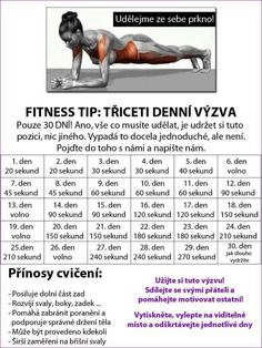 30 denní výzvy - Life by Tess♥ - Hryprodivky. Yoga Fitness, Fitness Tips, Health Fitness, Training Programs, Workout Programs, Dance Program, 30 Day Challenge, Workout Gear, Workouts