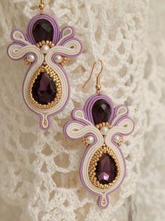 Homemade Jewelry, Diy Jewelry, Beaded Jewelry, Jewellery, Shibori, Soutache Earrings, Crochet Earrings, Drop Earrings, Diy Accessories