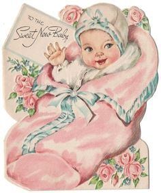 I love the soft colors of vintage baby cards! Vintage Baby Pictures, Vintage Baby Mädchen, Images Vintage, Photo Vintage, Baby Images, Vintage Girls, Vintage Children, Vintage Clip Art, Clipart Vintage