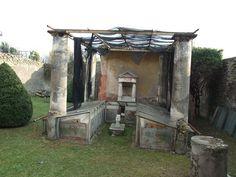 *POMPEII, ITALY ~ Pergola/ summer triclinium/ nymphaeum against south wall, house of Ephebus