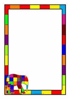 Elmer page borders Borders For Paper, Borders And Frames, Elmer The Elephants, Kindergarten Language Arts, Page Borders, Elephant Theme, Book Themes, Writing Paper, Preschool Art