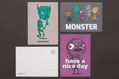 Illustrated business cards and stationery by Drew Millward and The Metric System for production company Monster