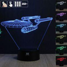 Star Trek Mood Lampu Malam 3D RGB Diganti LED Light dc 5 v usb lampu meja hias mendapatkan free remote control