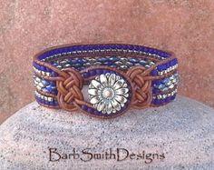 """Beaded Leather Wrap Cuff Bracelet, Cobalt Blue Silver Bracelet, Bracelet & Earrings Set Options, Custom Size """"Knotty One"""""""