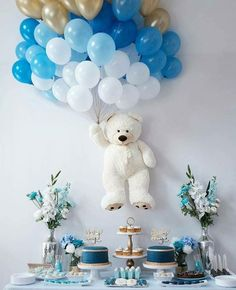 Teddy bear baby shower decoration unique baby shower in 2019 Cute Baby Shower Ideas, Baby Shower Decorations For Boys, Boy Baby Shower Themes, Baby Shower Centerpieces, Baby Boy Shower, Baby Shower Gifts, Baby Boy Birthday Themes, Baby Shower Cakes For Boys, Party Centerpieces
