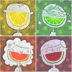 Grans somriures plens de sucosa fruita.   Saborosa alegria.   (il·lustració de Barry Fitzgerald )