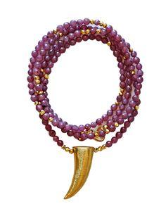 Goldene Horn Rubin Halskette von keijewelry auf Etsy