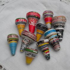 cone shaped beads..words can be read on the bottom...