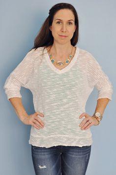 Stitch Fix Review #3-- Distressed denim and light weight sweater (Kut From The Kloth Marquis Slub Knit Dolman Sweater & Kensie Jeans Sophia Distressed Skinny Jean)