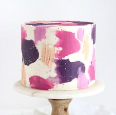 Learn how to use a combination of cake decorating techniques to create a painted buttercream cake. It's basically edible art therapy! Pretty Cakes, Cute Cakes, Beautiful Cakes, Amazing Cakes, Yummy Cakes, Create A Cake, Bolo Cake, Smooth Cake, Cake Decorating Techniques