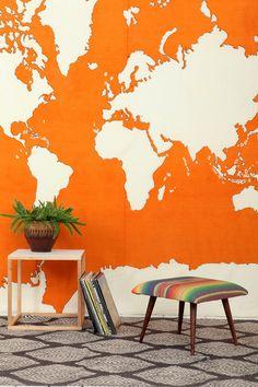 Orange Atlas Tapestry