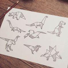 Origami tattoo geometric ink 18 best ideas #tattoo #origami Origami Tattoo, Origami Dino, Origami Ball, Diy Origami, Doodle Drawing, Sketch Drawing, Useful Origami, Geometric Art, Geometric Tattoos