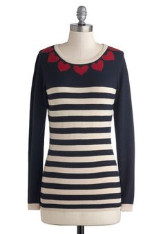 Bake Sale Away Sweater by Sugarhill Boutique - Mid-length, Knit, Blue, Red, White, Stripes, Casual, Long Sleeve, Scoop