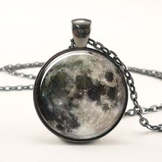 Full Moon Necklace, Space Picture Pendant, Galaxy Jewelry (0439G1IN) by rainnua on Etsy