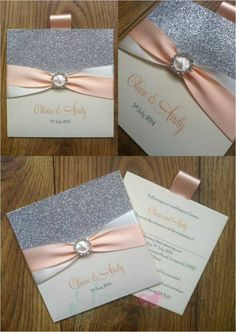 Peach and Ivory Silver Glitter Wallet Wedding Invitation www.jenshandcraftedstationery.co.uk www.facebook.com/jenshandcraftedstationery