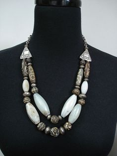 Old African Agate Fossilised Wood and Silver by GEMILAJewels