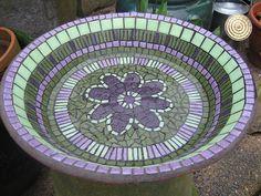 Mosaic Birdbath by VegasLammy Mosaic Birdbath, Mosaic Garden Art, Mosaic Flower Pots, Mosaic Art, Mosaic Glass, Stained Glass, Mosaic Crafts, Mosaic Projects, Mosaic Ideas