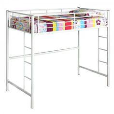 """Metal Twin Size Loft Bed (White) (68""""H x 80""""W x 42""""D)"""