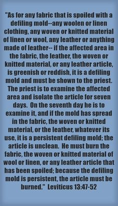 As for any fabric that is spoiled with a defiling mold--any woolen or linen clothing, any woven or knitted material of linen or wool, any leather or anything made of leather-- if the affected area in the fabric, the leather, the woven or knitted material, or any leather article, is greenish or reddish, it is a defiling mold and must be shown to the priest. The priest is to examine the affected area and isolate the article for seven days. On the seventh day he is to...