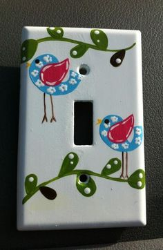 Hand painted Birdie light switch cover