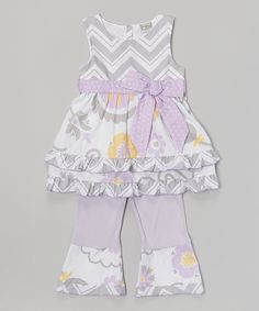 Another great find on #zulily! Gray & Lavender Suzie Tunic & Pants - Infant, Toddler & Girls by AnnLoren #zulilyfinds
