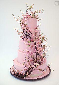 Beautiful pink cherry blossom wedding cake