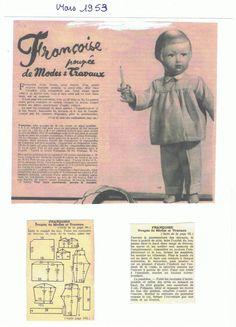 PAR AMOUR DES POUPEES :: M&T 1953-03 pyjama pour Françoise (couture)