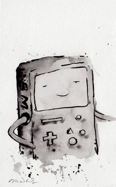 ORIGINAL PAINTING BMO from bmo noir, 5x8 inches / Adventure Time Fan Art Finn Jake. $30.00, via Etsy.