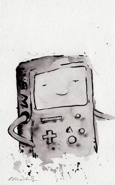 ORIGINAL PAINTING BMO from bmo noir, 5x8 inches / Adventure Time Fan Art Finn Jake. $30.00, via Etsy.